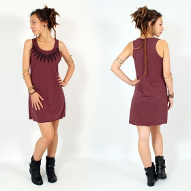 "Robe \""Feather neck\\\"", Bordeaux chiné et noir"