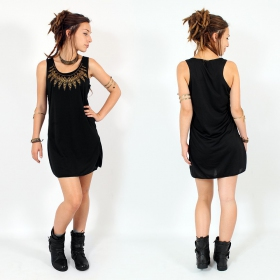 "Robe ""Feather neck\"", Noir et or"