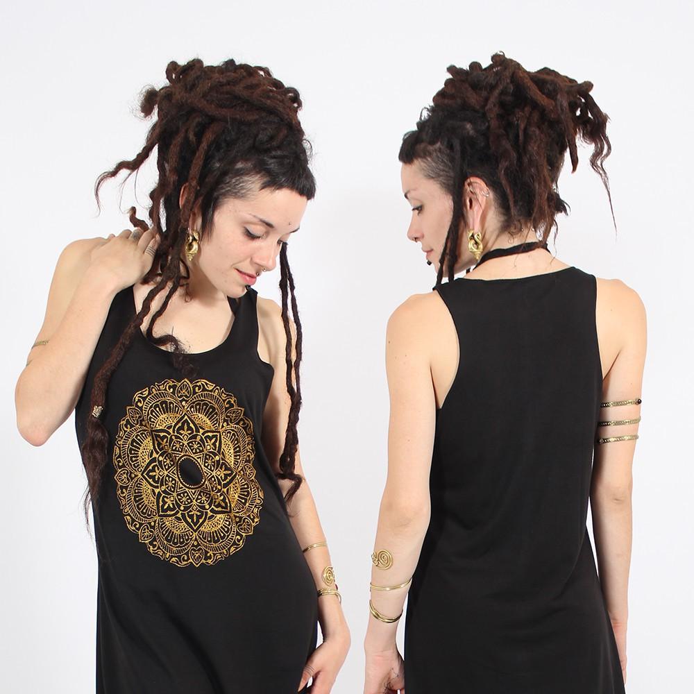 """Robe \\\""""Mandala\\\"""", Noir et gold"""