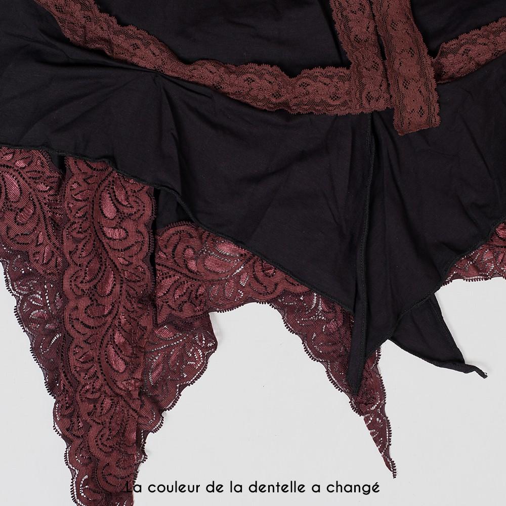 """Robe \""""Nehelenia\"""", Noir et dentelle marron"""