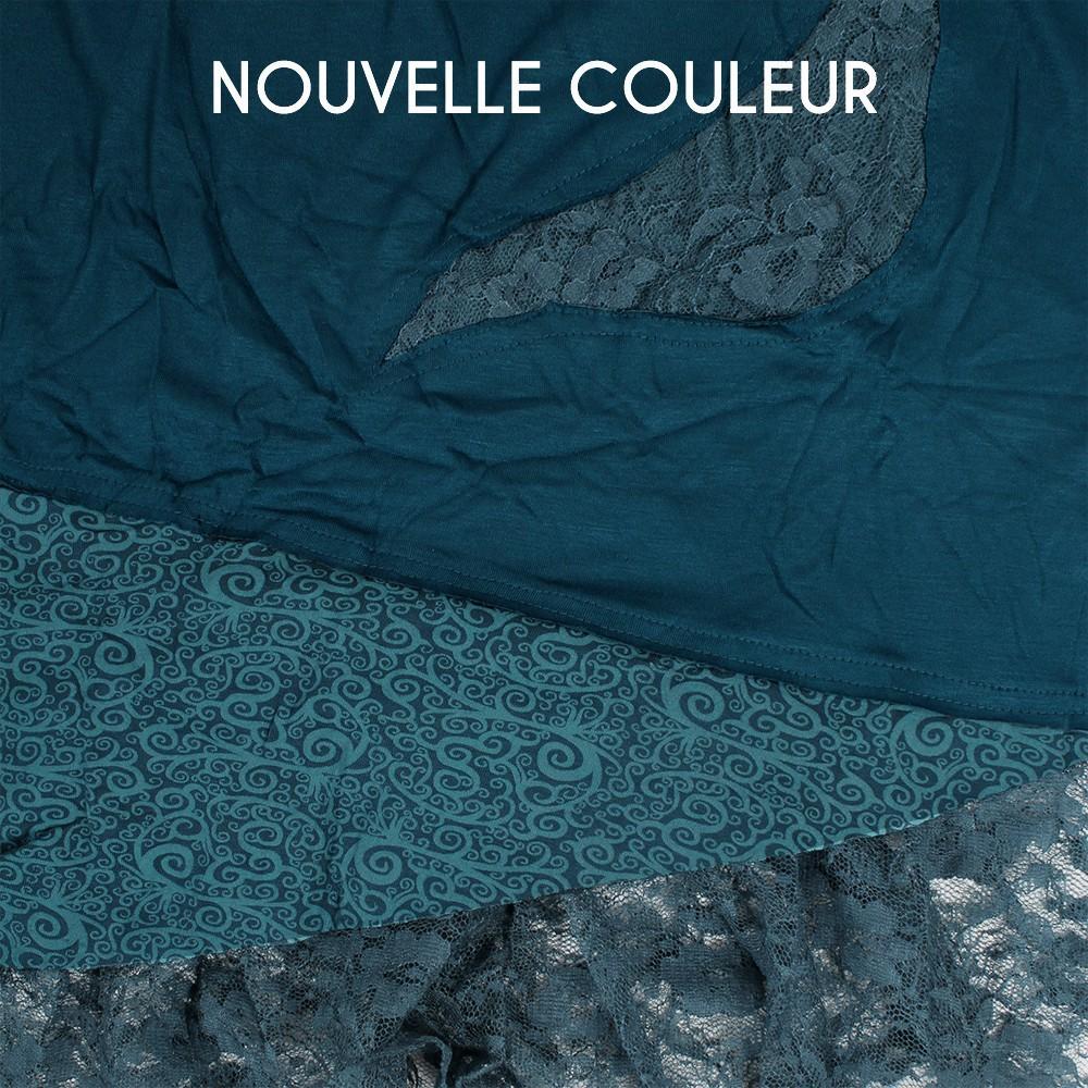 """Robe \""""Tarmy\"""", Bleu pétrole et marron"""