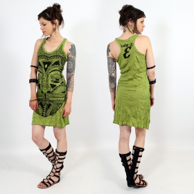 "Robe \""Tribal tattoo face\\\"", Vert pomme"