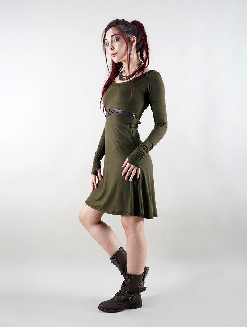 "Robe \""Ysïaa\"", Vert kaki"