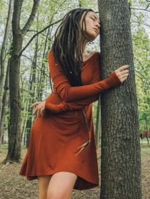"Robe à manches longues \""Ysïaa\"", Terre de Sienne chiné"