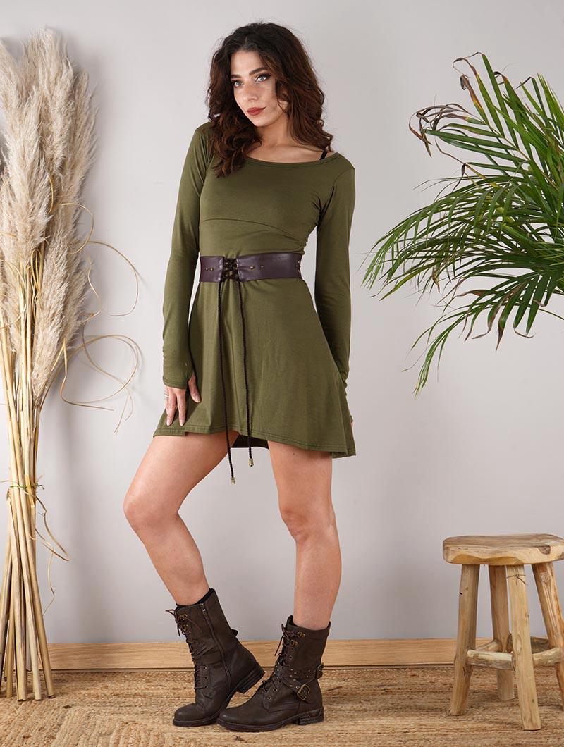 """Robe à manches longues \""""Ysïaa\"""", Vert kaki"""