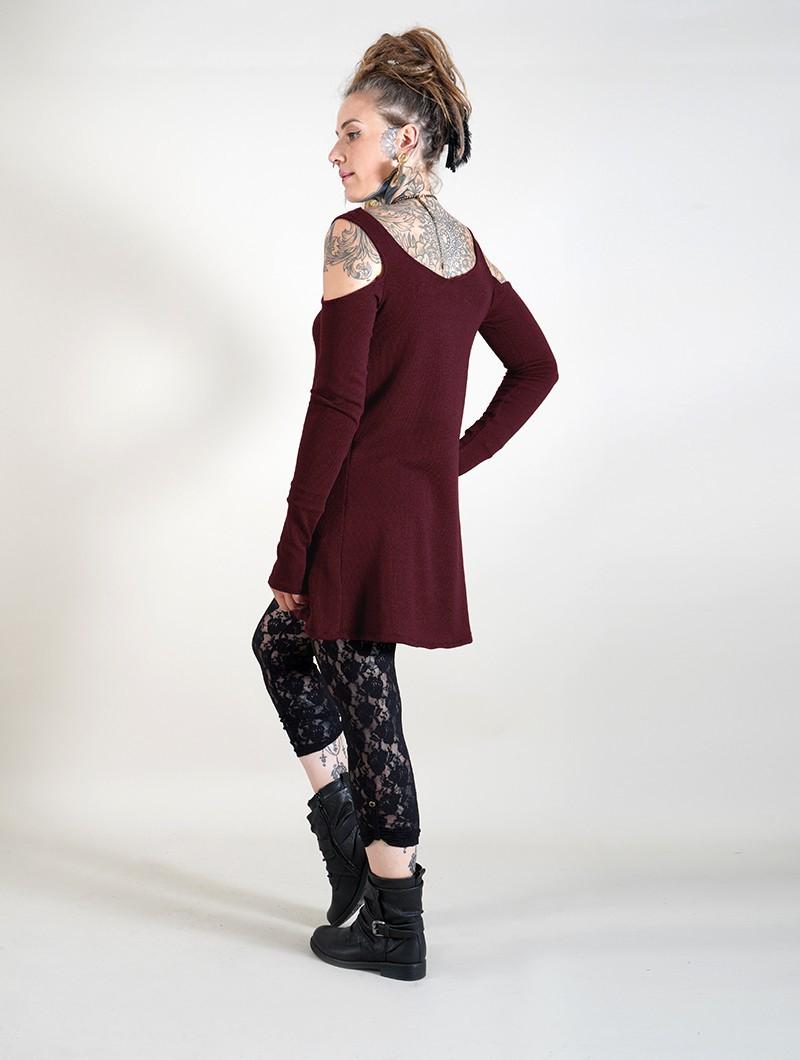 """Robe à manches longues épaules dénudées \""""Salem\"""", Bordeaux"""