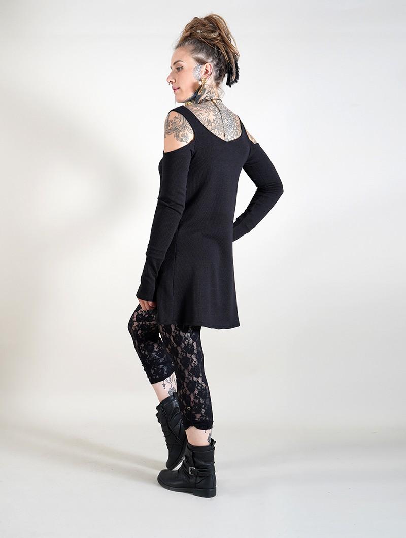 """Robe à manches longues épaules dénudées \""""Salem\"""", Noir"""