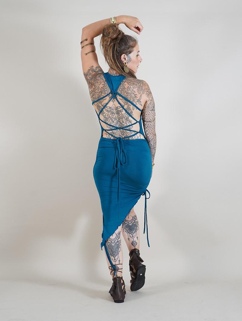 "Robe asymétrique \""Deepti\"", Bleu pétrole"
