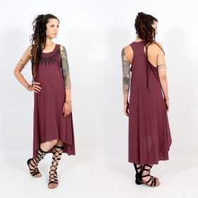 "Robe asymétrique \""Feather neck\\\"", Bordeaux chiné et noir"