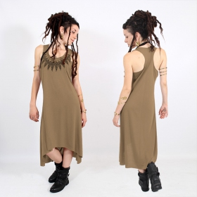 "Robe asymétrique \""Feather neck\\\"", Marron et noir"