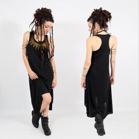 """Robe asymétrique \\\""""Feather neck\\\"""", Noir et or"""