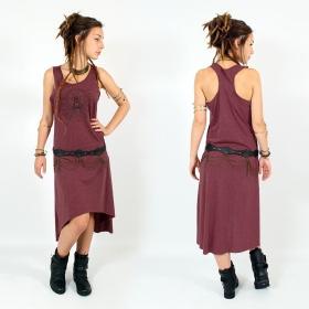"""Robe asymétrique \\\""""Geometric Scarab\\\"""", Bordeaux chiné et noir"""