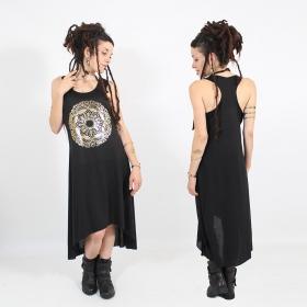 """Robe asymétrique \\\""""Mandala\\\"""", Noir et or"""