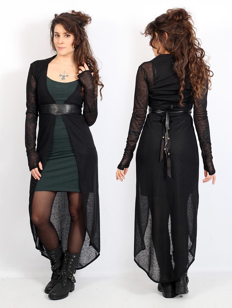 "Robe asymétrique \""Marrakech\"", Vert canard et noir"