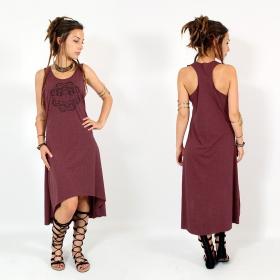 """Robe asymétrique \\\""""Scarab mandala\\\"""", Bordeaux chiné et noir"""