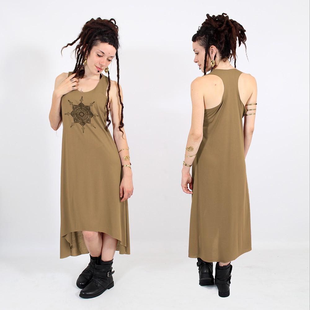 robe asym trique toonz mandala marron et noir. Black Bedroom Furniture Sets. Home Design Ideas
