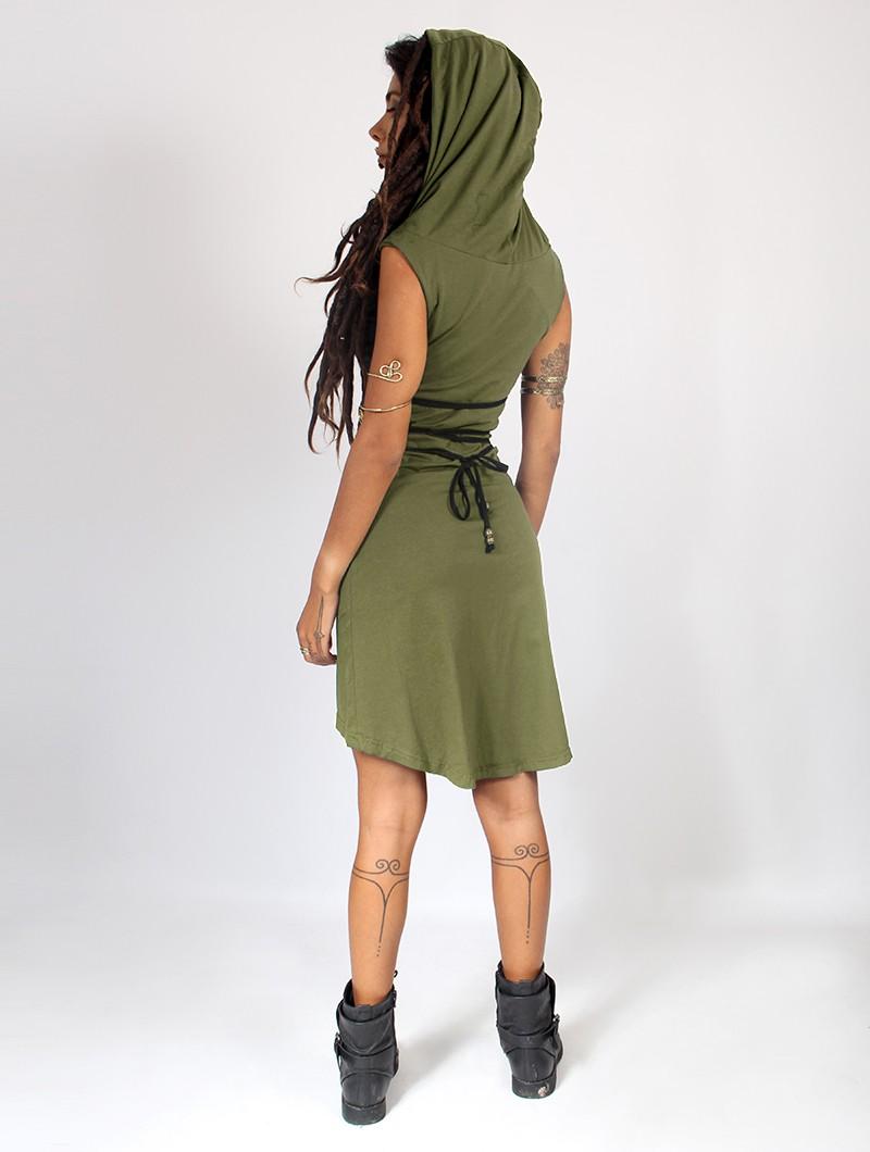 """Robe courte \""""Liskä\"""", Vert kaki"""