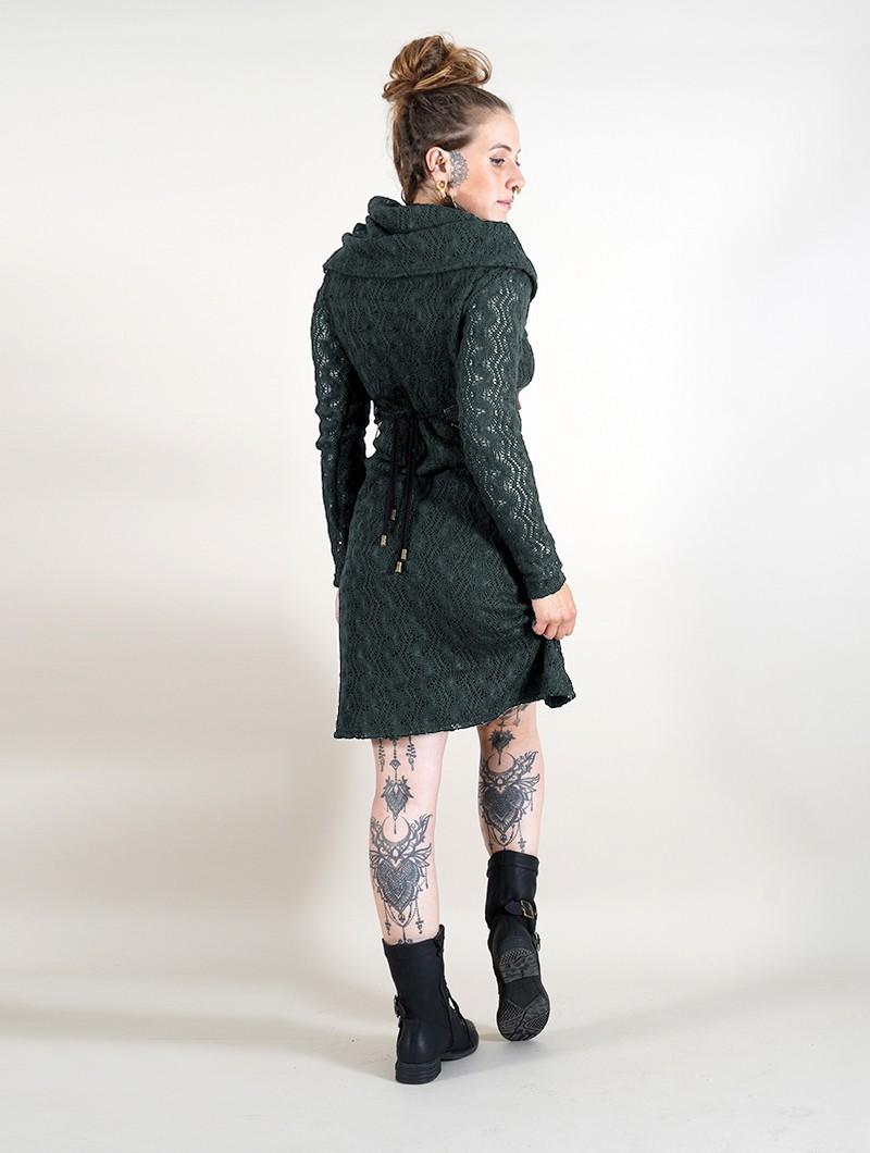 "Robe doublure crochet \""Nouchka\"", Noir et bleu pétrole"