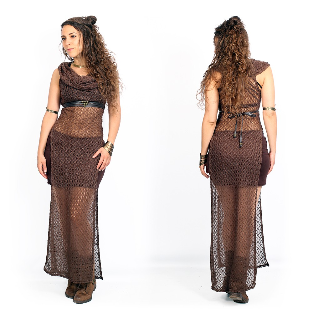 "Robe en crochet ""Nephilim\"", Marron"