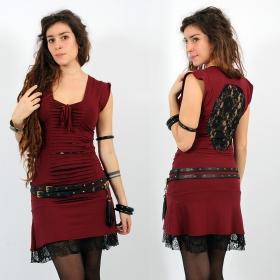 """Robe Liloo \""""Jadeite\"""", Rouge foncé noir"""