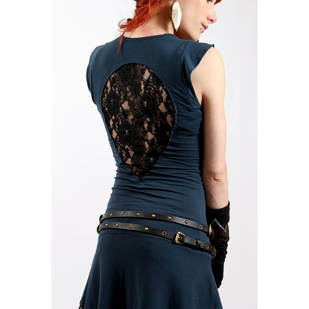 "Robe liloo wear \""jadeite\\\"", bleu petrole-noir"