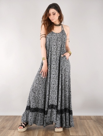 "Robe longue \""Gaia\"", Noir motifs floraux"