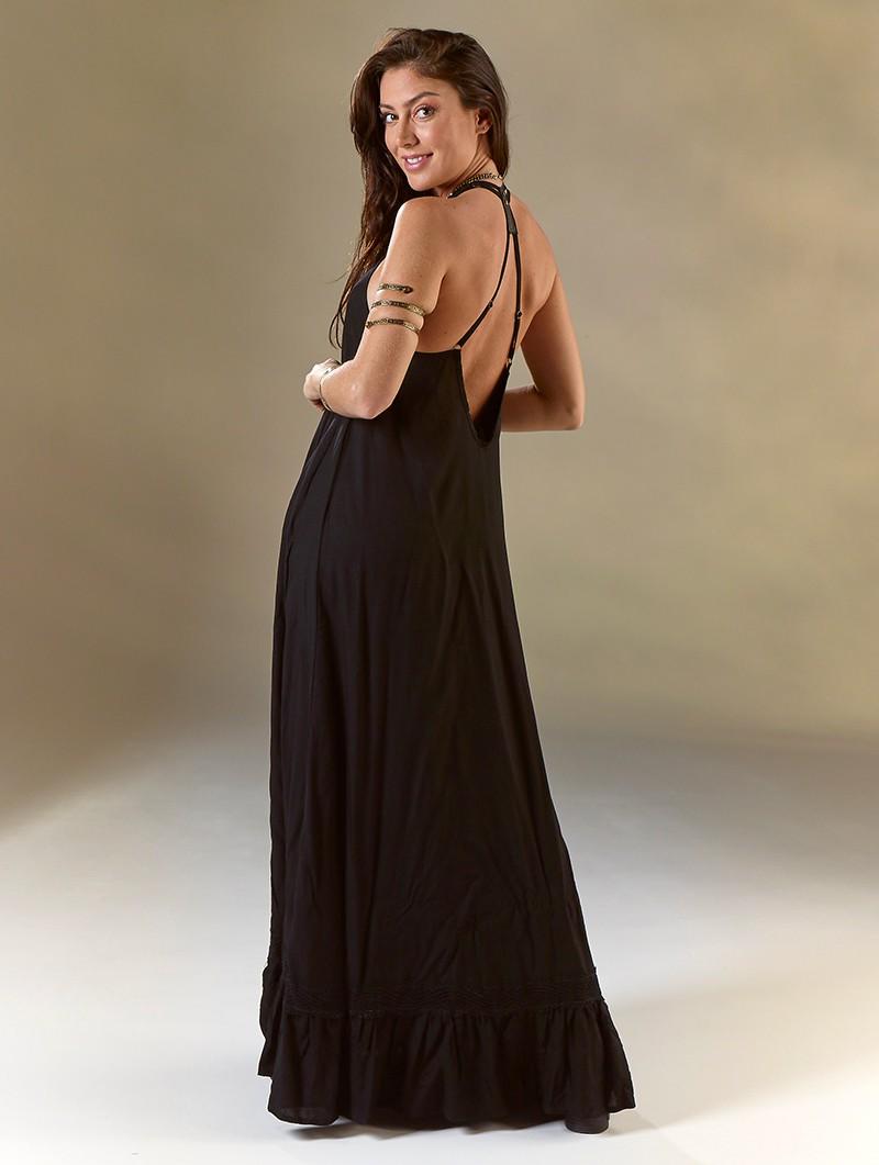 """Robe longue \""""Gaia\"""", Noir"""
