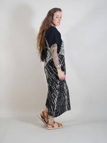 """Robe longue \""""Gypsy Tie-Dye\"""", Noir et beige"""