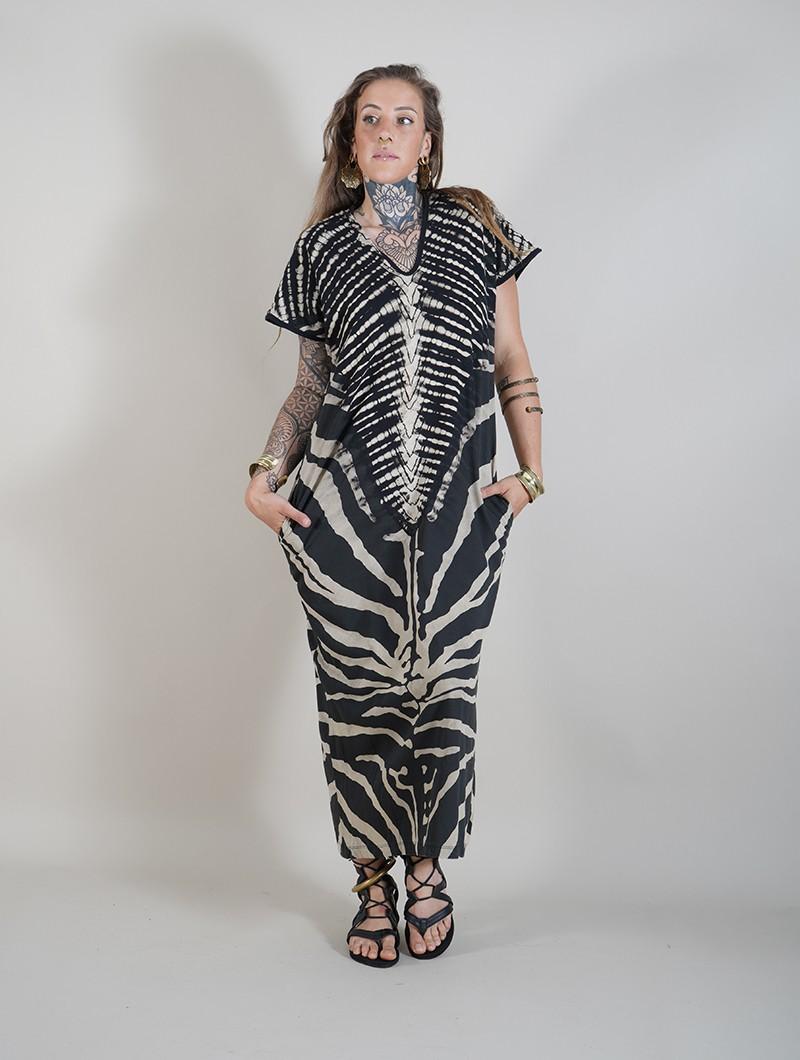 """Robe longue \""""Gypsy Zebra\"""", Noir et beige"""
