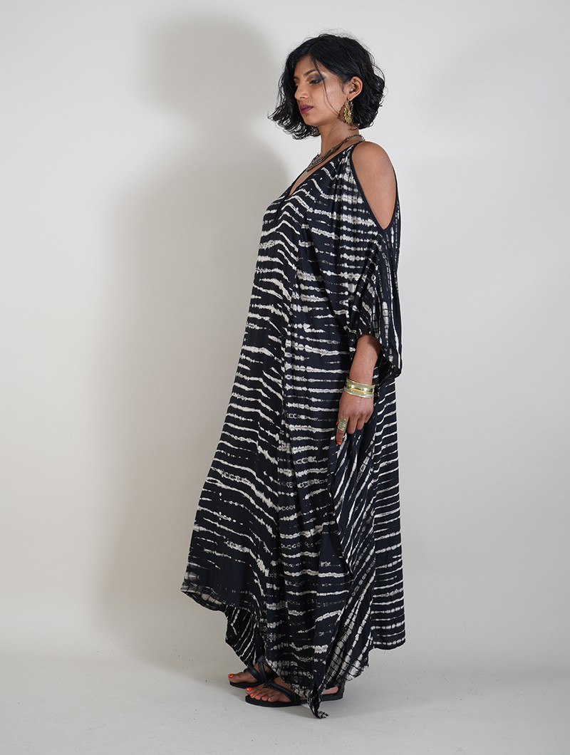 "Robe longue \""Shoulder Zebra\"", Noir et beige"