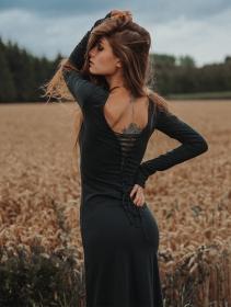 "Robe longue \""Valkyrie\"", Vert canard"