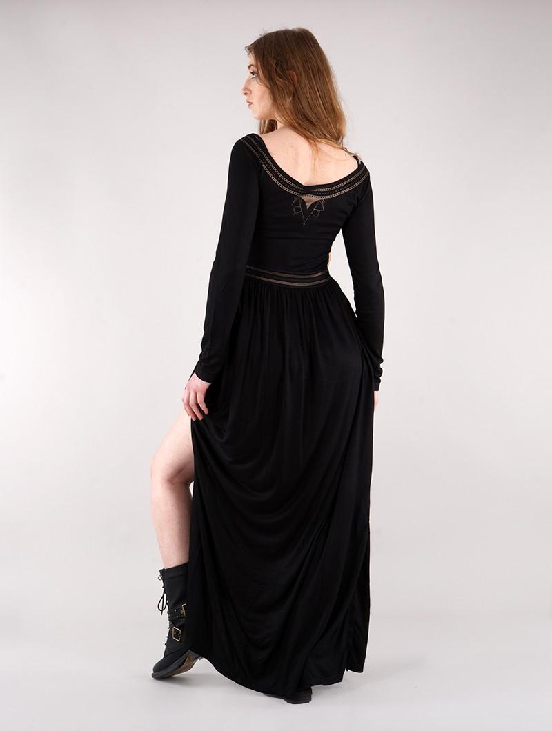 """Robe longue à manches longues \""""Lotus Artanis\"""", Noir"""