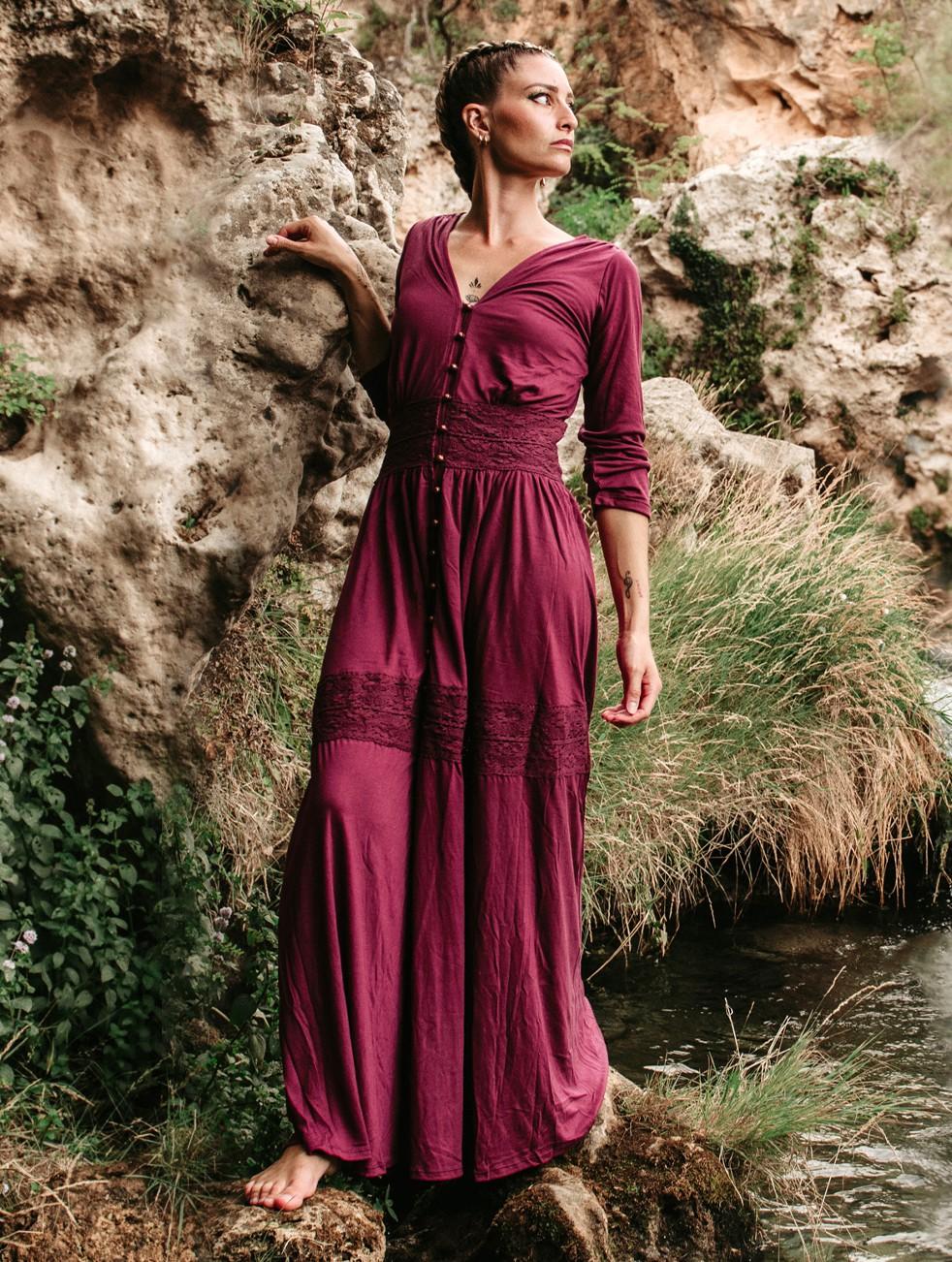 """Robe longue boutonnée \""""Heldaria\"""", Bordeaux avec crochet bordeaux foncé"""