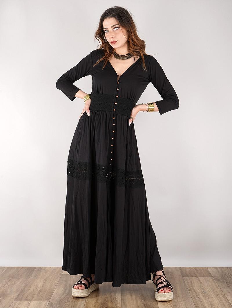 "Robe longue boutonnée \""Heldaria\"", Noir avec crochet noir"