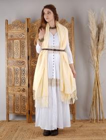 "Robe longue boutonnée avec crochet \""Heldaria\"", Blanc"
