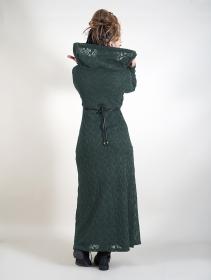 """Robe longue doublure crochet \""""Nouchka\"""", Noir et bleu pétrole"""
