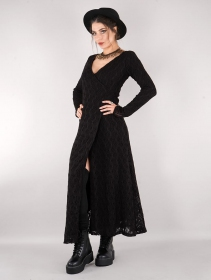 """Robe longue en crochet \""""Ëmy\"""", Noir"""