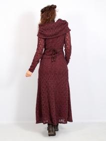 """Robe longue en crochet \""""Nouchka\"""", Bordeaux et doublure orangée"""
