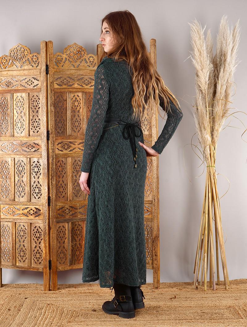 """Robe longue en crochet \""""Nouchka\"""", Gris bleuté et doublure noire"""