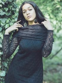 "Robe longue en crochet \""Nouchka\"", Noir"
