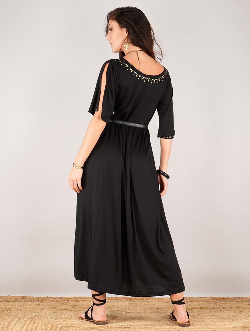 "Robe longue oversize imprimée \""Eorynn Anazraa\"", Noir"