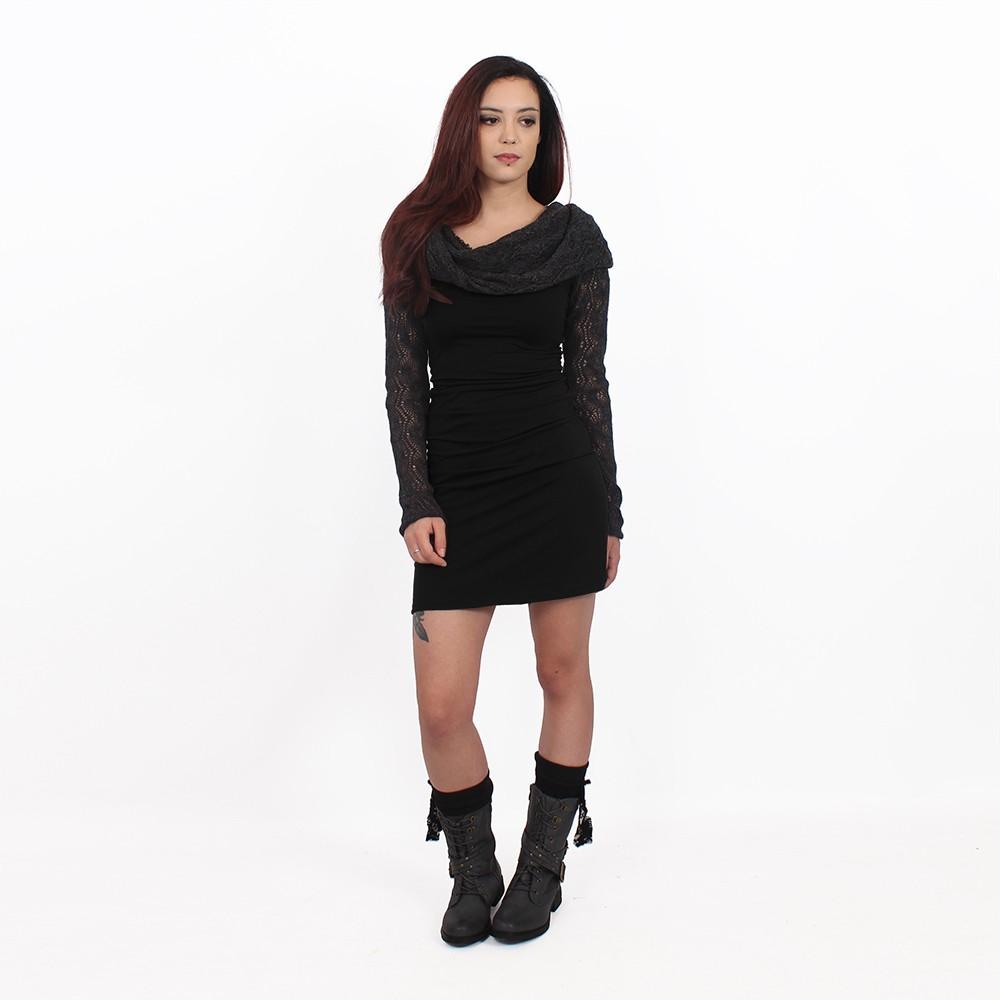 """Robe manches longues crochet \""""Atmäa\"""", Noir et gris"""