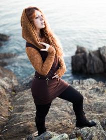 """Robe manches longues crochet \""""Atmäa\"""", Rouille et marron"""