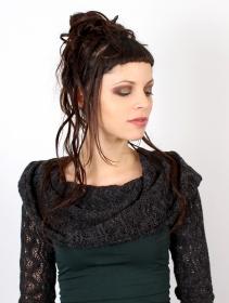 "Robe manches longues crochet \""Atmäa\"", Vert canard et gris"