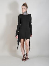 """Robe mi longue asymétrique \""""Jowaki\"""", Noir"""