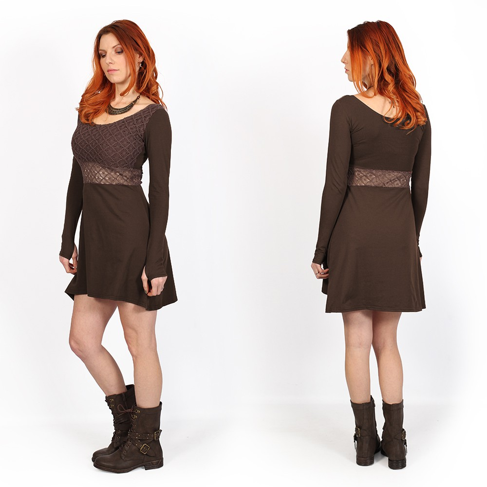 "Robe patineuse avec crochet ""Nymphea\"", Marron"