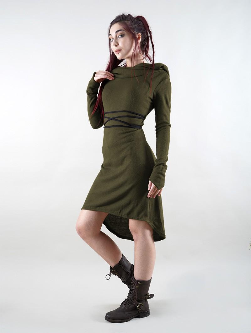 """Robe pull \""""Käliskä\"""", Vert kaki et noir"""