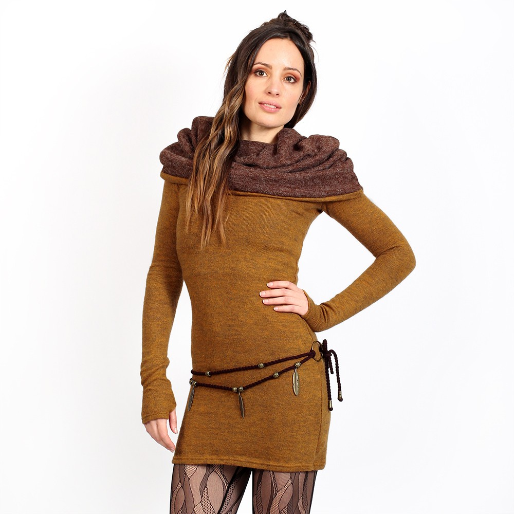 "Robe pull \""Mantra\"", Rouille et marron"