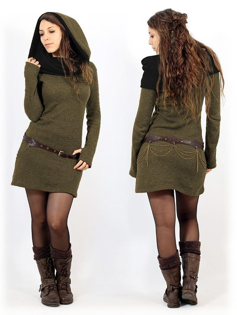 """Robe pull \""""Mantra\"""", Vert kaki et noir"""