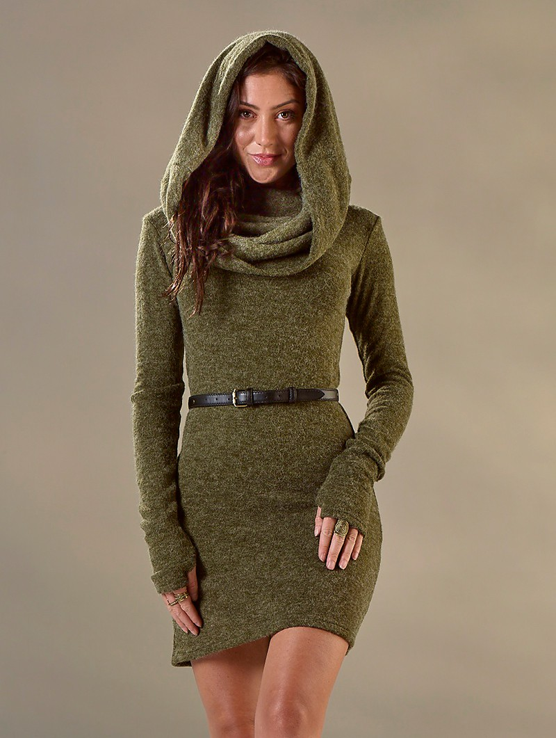 "Robe pull \""Mantra\"", Vert kaki"